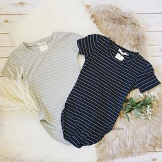 Heather Grey Striped Tee Bodysuit