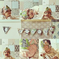 """Handmade crown, scrapbook paper background, """"6 Months"""" bunting banner all hand made for her 6 Months mini photo session at home"""