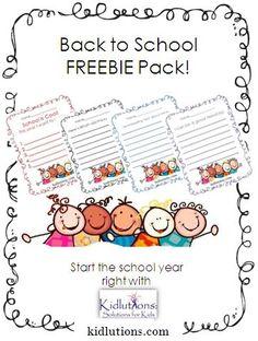 #BackToSchool Freebie Pack from Kidlutions