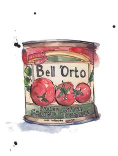 Tomato Tin n.1 Art Print A4 from Original Ink and от PebbleandBee