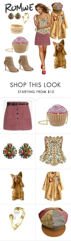 """""""The Cat's Meow    Romwe-rose skirt"""" by bluehatter ❤ liked on Polyvore featuring Judith Leiber, NOVICA and Roberto Cavalli"""
