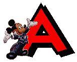 Alfabeto de Mickey y sus amigos con letras rojas.