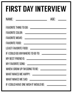 All About Me Printables {Interview Template}. About me free printable for a back… All About Me Printables {Interview Template}. About me free printable for a back to school interview for kids. First day of school interview. Get To Know You Activities, All About Me Activities, First Day Of School Activities, All About Me Printable, All About Me Worksheet, Birthday Interview, School Interview, Back To School Worksheets, Kindergarten Worksheets