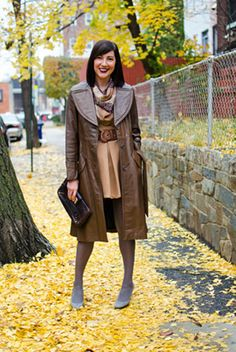 Love the vintage leather trench.