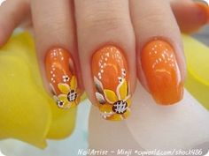 summer orange sunflower nail art
