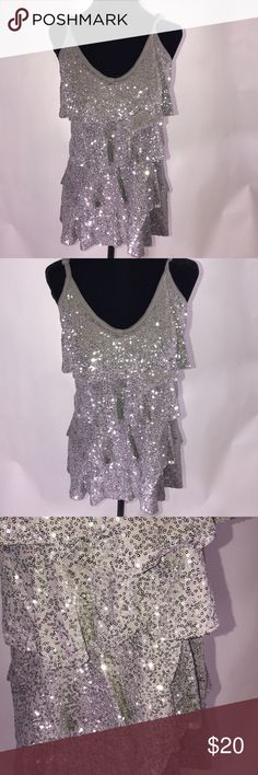 INC Sequins tank top INC Sequins tank top with layers of detail Pit to pit 18' Length 21' INC International Concepts Tops Tank Tops