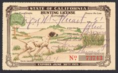 State of California Hunting License Citizen, 1924 Pointer Hunting Dog Hunting License, Hunting Dogs, Dog Tags Military, Vintage World Maps, California, Citizen