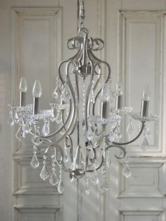 chandelier idea for over bathtub, definitely doing this after the painting is done! (after sweet-talking Daddy) Chandeliers, Chandelier Lighting, Silver Chandelier, Chandelier Makeover, Bathroom Chandelier, Shabby Chic Lighting, Chic Bathrooms, Vintage Roses, Dream Bedroom