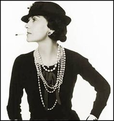 Coco Chanel with Pearl Jewelry