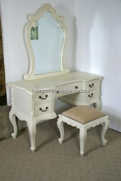 Dressing Table and Stool In Antique White