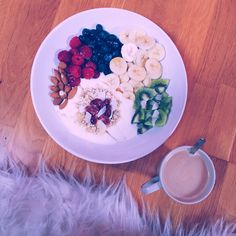 Healthy breakfast and a cup of coffee Acai Bowl, Coffee Cups, Breakfast, Healthy, Food, Acai Berry Bowl, Coffee Mugs, Meal, Essen