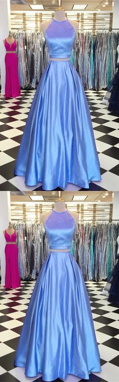 Light Blue Satin Two Piece Prom Dresses With Pocket
