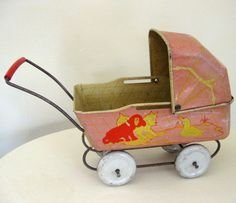 Antique Tin Toy Miniature Baby Carriage