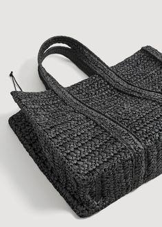 Braided shopper bag – Women Braided shopper bag – f foShoppers Women Crochet Handbags, Crochet Purses, Diy Bags Purses, Jute Bags, Shopper Bag, Knitted Bags, Handmade Bags, Leather Bag, Black Leather