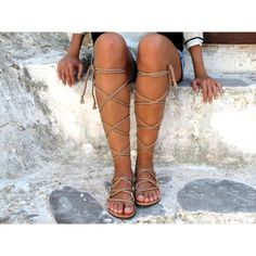Gladiator Sandals With Hand Braided Straps Fully Customizable Selene... ($134) ❤ liked on Polyvore featuring shoes, sandals, gladiator & strappy sandals, silver, women's shoes, evening shoes, gladiator sandals, summer sandals, summer shoes and greek sandals