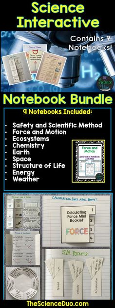 Bring engaging and interactive activities into your classroom with these science notebook pages.  This resource contains 9 different interactive notebooks.