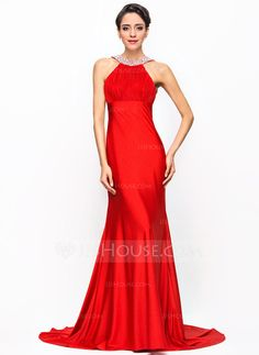 Trumpet/Mermaid Scoop Neck Court Train Jersey Evening Dress With Ruffle Beading Sequins Bow(s) (017056096)