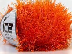 Lot of 8 Skeins ICE EYELASH Knitting Wool Orange in Crafts, Knitting, Wool & Yarn | eBay