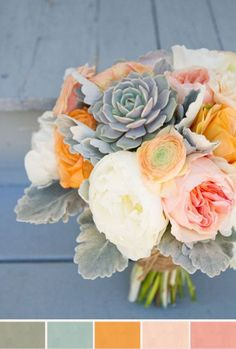 muted floral bouquet with succulents - This is my one favorite color pallet! #FlowerShop
