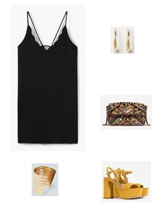 Black scalloped little dress+mustard heeled sandals+gold jewelry+mustard, black and brown embroidered clutch. Summer Graduation Event Outfit 2016