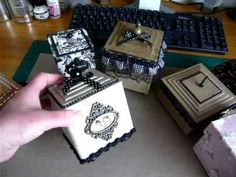 ▶ Something to share... more handmade boxes - YouTube — These are made from scratch, but I like the layered (chipboard) lids, the TH vintage-look brackets etc., which could be adapted to an old wooden box being altered