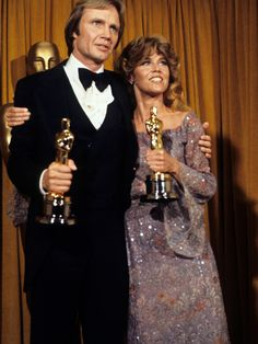 "1978 Academy Award Winners - Jane Fonda - Best Actress Oscar and Jon Voight - Best Actor Oscar, both for ""Coming Home"" (1978)"