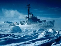 Icebreaker, Antarctic  Photograph by Charles Swithinbank    U.S.S. Atka stands off Crater Hill on McMurdo Sound in mid-March; she kept channels open for evacuation of the last summer resident