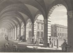 An eighteenth century view from under the arcade, Covent Garden Piazza