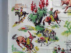 Vintage Cotton Barkcloth Fabric  Western by SparkleUpcycledGoods