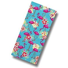 """Custom & Luxurious {28"""" x 60"""" Inch} 1 Single Large & Thick Soft Summer Beach & Bath Towels Made of Quick-Dry Cotton w/ Bright Colorful Posing Flamingos w/ Tropical Flowers [Multicolored]"""