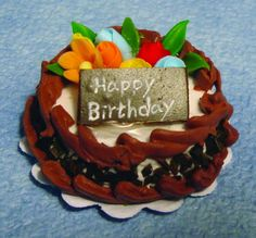 Chocolate Birthday Cake for 12th Scale Dolls House D1678 | Hobbies | Streets Ahead