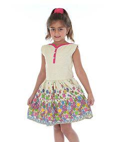 White Floral Button-Top Dress - Toddler & Girls #zulily #zulilyfinds