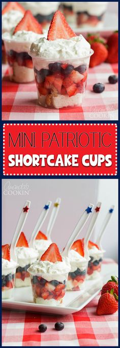 Mini Shortcake Cups are perfect for Memorial Day, of July or just any time. … Mini Shortcake Cups are perfect for Memorial Day, of July or just any time. These adorable little fruit and cake cups are just the right size. 4th Of July Desserts, Fourth Of July Food, Holiday Desserts, Holiday Treats, Holiday Recipes, Fourth Of July Recipes, 4th Of July Ideas, 4th Of July Camping, July 4th Appetizers