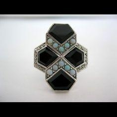 Art Deco bague en argent, pierres en onyx et opales