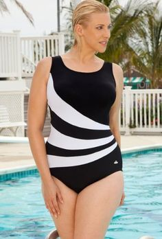fc227779c0a Aquabelle Chlorine Resistant! Black and White Plus Size Spliced Swimsuit  Women`s Swimsuit  44.25