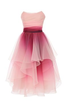 Strapless Ombre Organza A-Line Cocktail Dress by Marchesa Pretty Prom Dresses, Ball Dresses, Pretty Outfits, Homecoming Dresses, Cute Dresses, Beautiful Dresses, Evening Dresses, Short Dresses, Girls Dresses