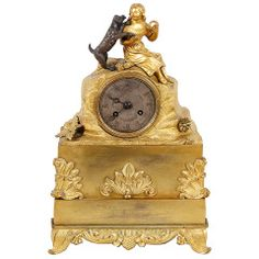 """Charles X Period French Gilded Bronze Mantel Clock """"Girl with Dog"""""""