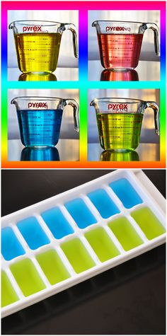 Change the colors to match any teams colors. Use clear soda or Sprite), add food coloring, and use in clear liquid drinks. Rainbow Food, Rainbow Theme, Refreshing Drinks, Fun Drinks, Beverages, Liquid Food Coloring, Rainbow Birthday Party, Festa Party, Glow Party