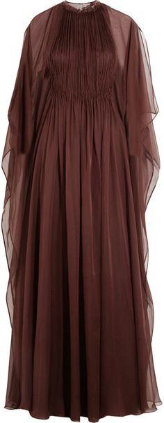 Valentino Plissé Silk-Chiffon Gown Fashion Wear, Modest Fashion, Runway Fashion, Valentino Couture, Italian Fashion Designers, Chiffon Gown, Designer Dresses, Evening Dresses, Gowns