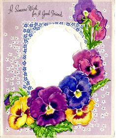 Pansies & lace card