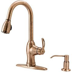 Beau Fontaine Antique Copper Pulldown Kitchen Faucet