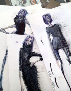 Ilustraciones en curso para la recolección de obsidiana.
