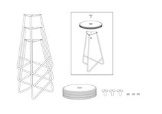 DSM stackable Stool by deFORM, drawing