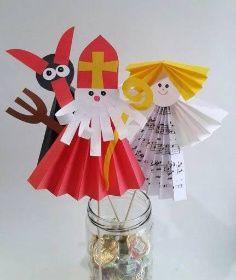 anděl mikuláš čert (barevné papíry, kuchyňská špejle)