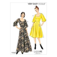 Vogue Patterns Sewing Pattern Misses' Princess-Seam, Flare Dresses with Poof Sleeves Vogue Patterns, Easy Sewing Patterns, Vintage Sewing Patterns, Sewing Ideas, Sewing Crafts, Dress Robes, Miss Dress, Fashion Catalogue, Longsleeve