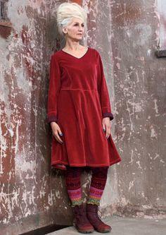 Cotton/polyester velour dress -Gudrun Sjoden