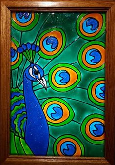 more affordable than stained glass! Peacock Drawing, Peacock Painting, Peacock Art, Peacock Decor, Glass Painting Patterns, Glass Painting Designs, Sharpie Canvas, Oil Pastel Art, Faux Stained Glass