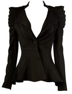 Smart and quirky work blazer for an accentuated waistline. Black Wardrobe, Work Wardrobe, Evening Outfits, Dark Fashion, Dress Me Up, Fashion Outfits, Fashion Ideas, Fashion Design, Everyday Fashion