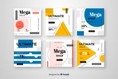 Sale promotion banners for social media collection Free Vector Graphic Design Brochure, Graphic Design Posters, Magazine Layout Design, Self Promo, Portfolio Layout, Social Media Design, Book Design, Software, Banner