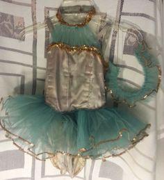 Hand Made Vintage Girls Satin Sequins Blue Tutu Dance Dress Costume Leotard | eBay